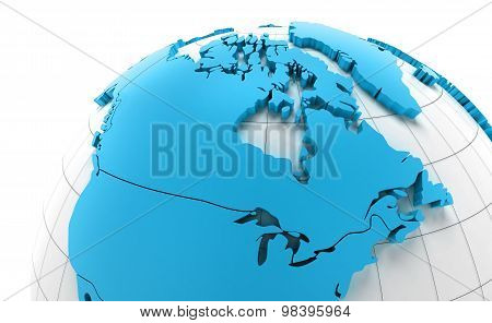 Globe of Canada with national borders