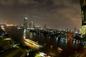 View at night in the Chao Phraya river in Bangkok Thailand in the Yan Nawa area poster