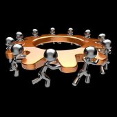Gear wheel teamwork turning gearwheel action team work hard business process men characters cogwheel together brainstorming partnership cooperation human resources concept. Isolated on black poster