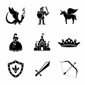 Set of monochrome fairytale, game icons with - sword and bow, shield and knight, dragon, princess, crown, unicorn, castle. Vector illustration poster