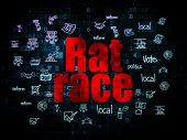 Political concept: Pixelated red text Rat Race on Digital background with  Hand Drawn Politics Icons, 3d render poster