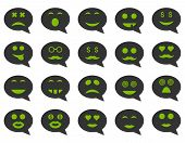 Chat emotion smile icons. Vector set style: bicolor flat images, eco green and gray symbols, isolated on a white background. poster