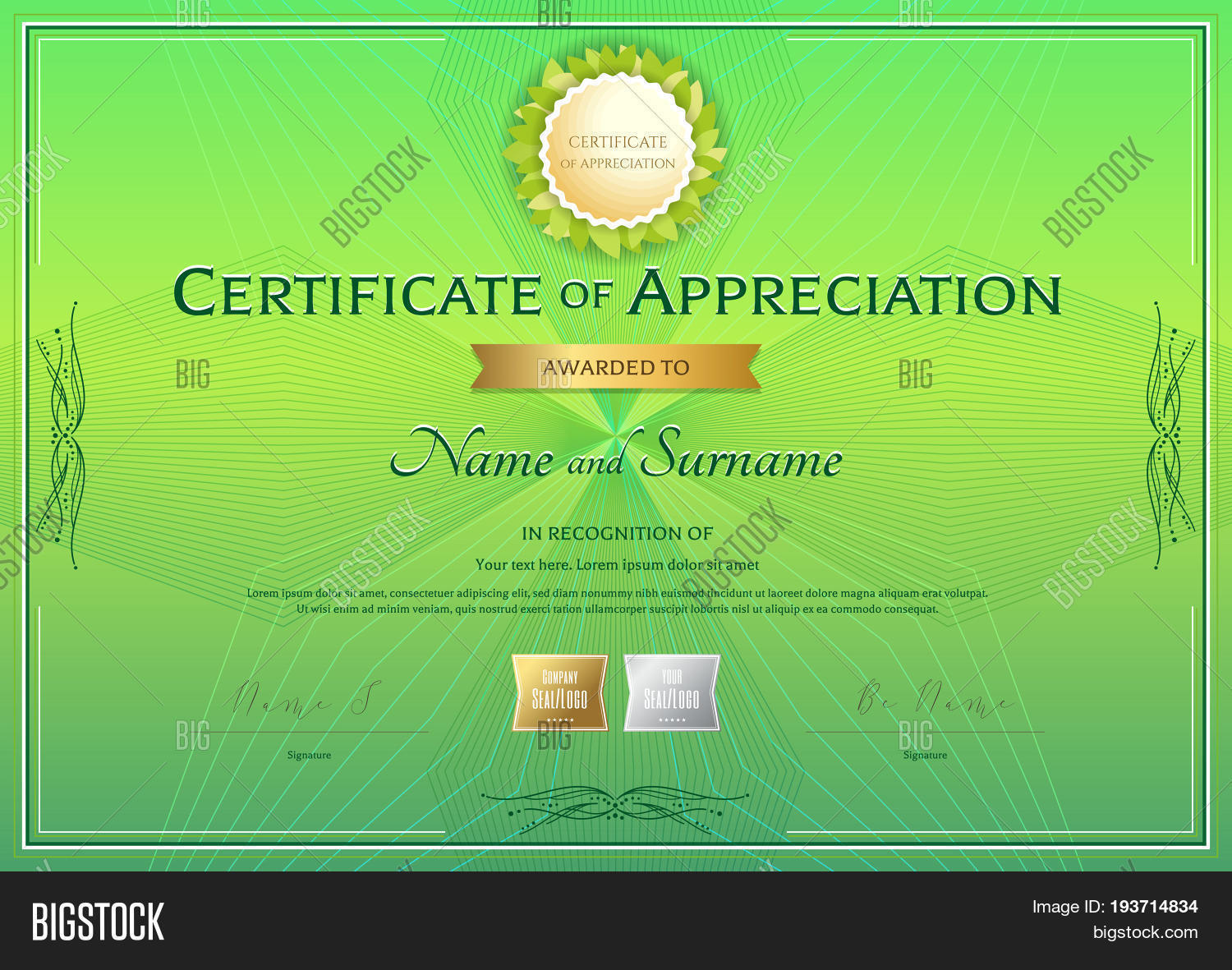 Certificate appreciation template vector photo bigstock certificate of appreciation template in green environment theme on abstract guilloche background with vintage border style yadclub Image collections
