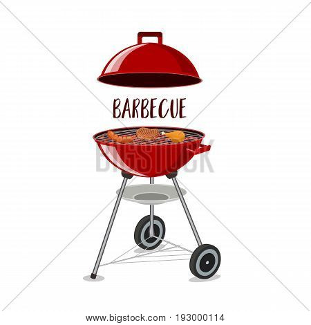 Barbecue or grill party vector icon of bbq for restaurant menu or weekend outdoor lunch or picnic. vector illustration in flat design