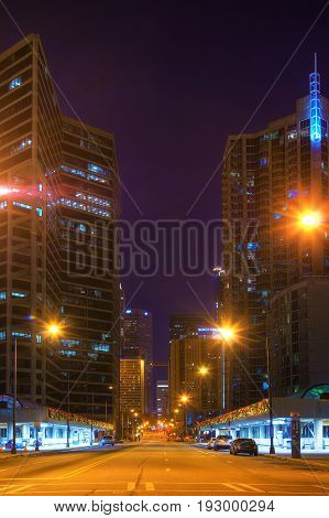 Atlanta Georgia USA - December 25 2016: Night view of skyscrapers on the West Peachtree Street NW in the Downtown
