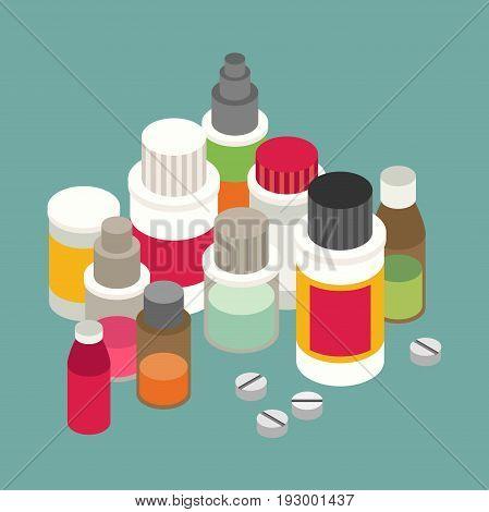 Flat 3d isometric pharmaceutics pharmacy drug web infographics vector illustration