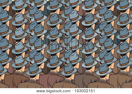 background crowd of the same men, stand back. Pop art retro vector illustration