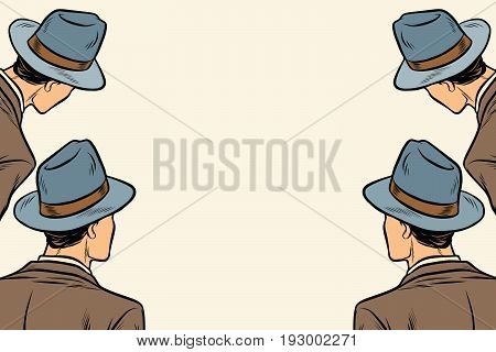 four men spectators look on a neutral copy space background. Pop art retro vector illustration