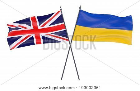 Great Britain and Ukraine, two crossed flags isolated on white background. 3d image
