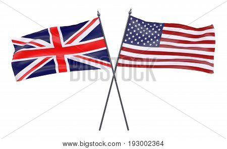 Great Britain and USA, two crossed flags isolated on white background. 3d image