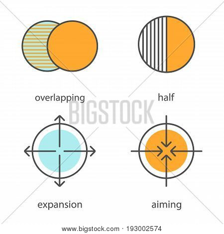 Abstract symbols color icons set. Overlapping, half, aiming, expansion concepts. Isolated vector illustrations