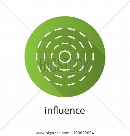 Influence flat linear long shadow icon. Vector outline symbol
