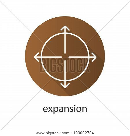 Expansion flat linear long shadow icon. Expand abstract metaphor. Vector outline symbol