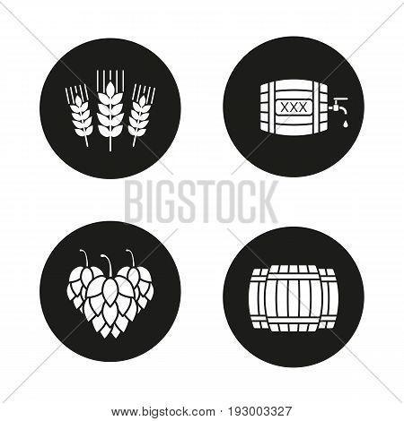 Beer glyph icons set. Alcohol wooden barrels, hop cones, wheat ears, rum or whiskey barrel with tap, drop and xxx sign. Vector white silhouettes illustrations in black circles