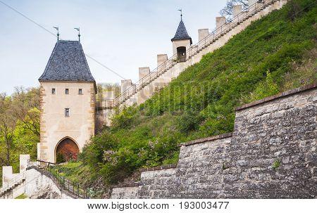 Karlstejn Castle. Large Gothic Castle Founded 1348