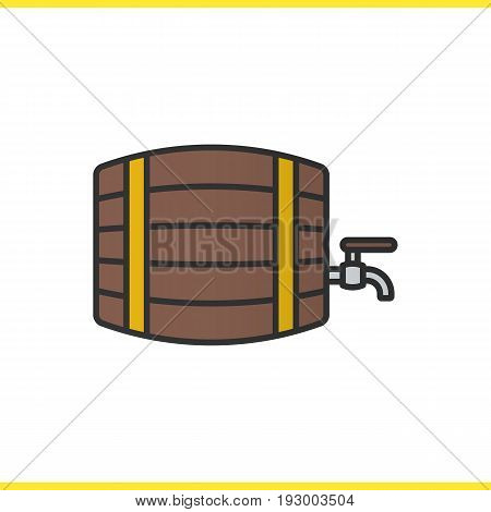 Alcohol wooden barrel color icon. Whiskey, beer or rum barrel with tap. Bar and pub sign. Isolated vector illustration