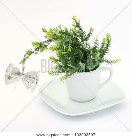 A small New Year tree in a white cup and a saucer with a bow isolated on a white background. Concept of loneliness sadness and longing during the celebration.