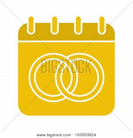 Wedding day glyph color icon. Calendar page with interlocked wedding rings. Nuptial calendar. Silhouette symbol on white background. Negative space. Vector illustration