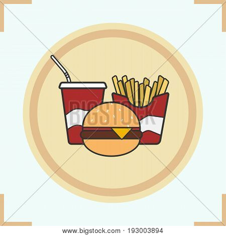 Fastfood color icon. Cola paper cup, hamburger and french fries. Junk food. Isolated vector illustration