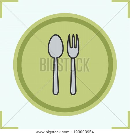 Eatery color icon. Fork and spoon. Isolated vector illustration