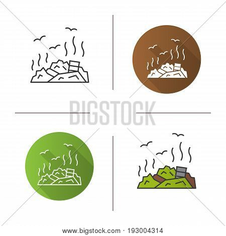 Rubbish dump icon. Flat design, linear and color styles. Garbage. Environment pollution. Isolated vector illustrations