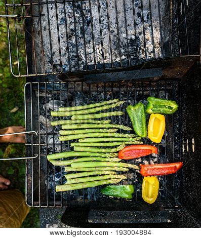 Asparagus and bell peppers on a barbecue bbq charcoal grill. Delicious vegan barbecue outdoors picnic meal. Grilling vegetables for vegetarians or vegans.