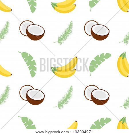 Seamless pattern with banana leaves bananas and coconuts. Vector illustration. Easy to use for backdrop textile wrapping paper wall posters