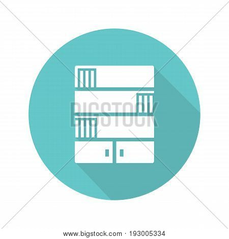 Bookcase flat design long shadow glyph icon. Bookshelves. Vector silhouette illustration
