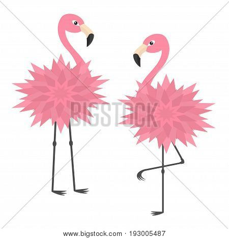 Two pink flamingo set. Flower body. Exotic tropical bird. Zoo animal collection. Cute cartoon character. Decoration element. Flat design. White background. Isolated. Vector illustration