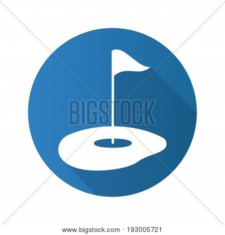 Golf course flat design long shadow glyph icon. Golf flagstick in hole. Vector silhouette illustration