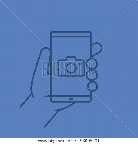 Hand holding smartphone color linear icon. Smart phone photocamera. Thin line outline symbols on color background. Vector illustration