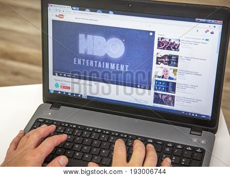 Paris, France - January 27, 2017 : Man Using A Laptop And Youtube To Watch A Hbo Trailer Of The Bigg
