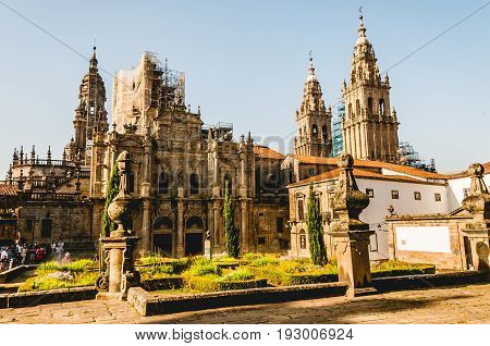 Side view of the Santiago de Compostela's Cathedral. Spain.