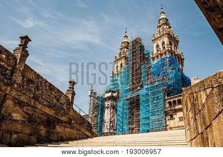 Santiago de Compostela's Cathedral. View from the bottom. Spain.