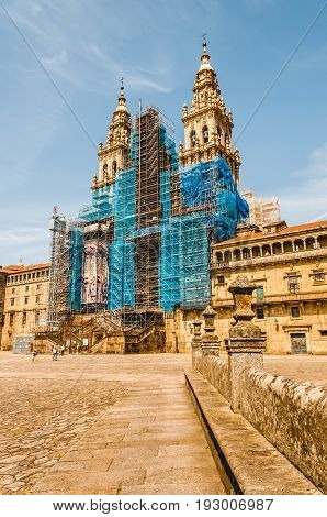 Square where is the main facade of the Santiago de Compostela's Cathedral. Spain.