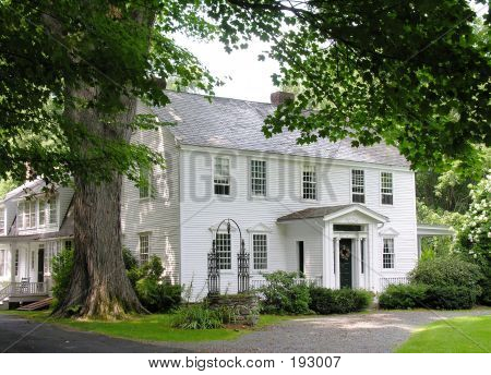 White Colonial Home
