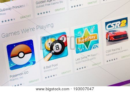 Paris, France - June 14, 2017: Best Apps Of Games Available On Google Play. Google Play Is A Large L