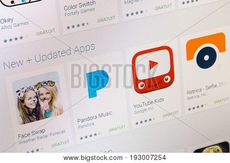 Paris, France - June 14, 2017: Best Funny Apps Available On Google Play. Google Play Is A Large Libr