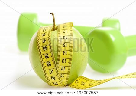 Green Apple And Sewing Centimeter With Lightweight Dumbbells