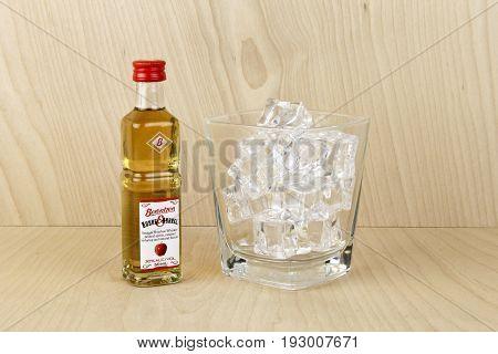 Spencer WisconsinJune 28 2017 Bottle of Berentzen Straight Bourbon Whiskey Berentzen is a German company