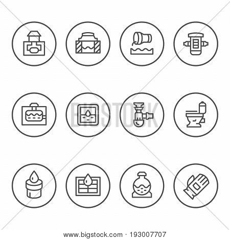 Set round line icons of sewerage isolated on white. Vector illustration