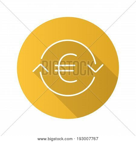 Euro exchange flat linear long shadow icon. Refund. Vector line symbol