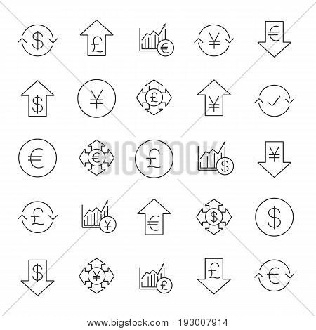 Economics linear icons set. Banking and finance. National currencies falling and rising. Money spending and conversion. Market growth charts. Thin line contour symbols. Isolated vector illustrations