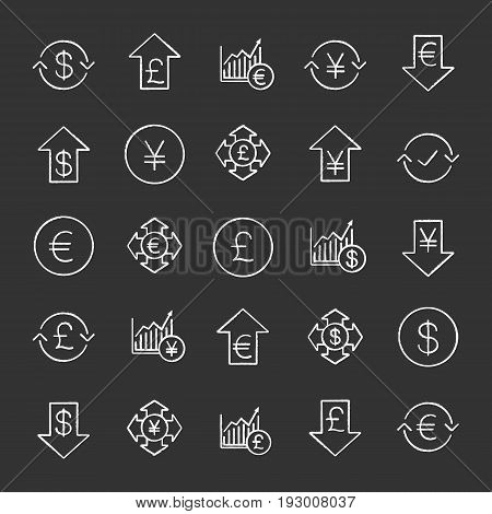Economics chalk icons set. Banking and finance. National currencies falling and rising. Money spending and conversion. Market growth charts. Isolated vector chalkboard illustrations