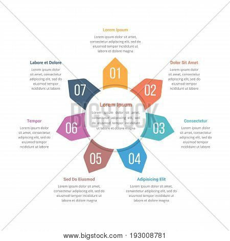 Circle infographics template with seven elements, vector eps10 illustration