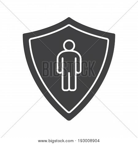 Bodyguard glyph icon. Silhouette symbol. Man inside protection shield. Negative space. Vector isolated illustration