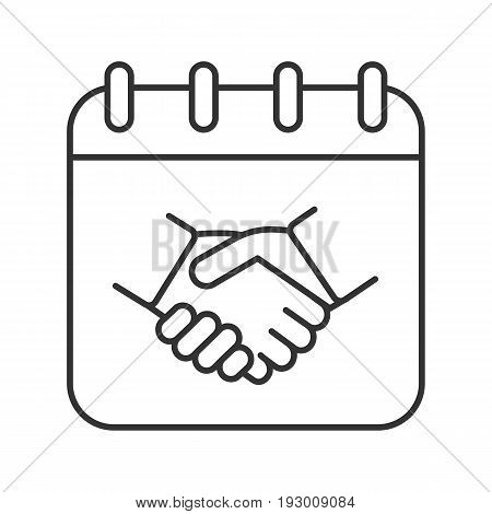 Negotiations day linear icon. Thin line illustration. Business negotiations date. Calendar page with handshake contour symbol. Vector isolated outline drawing