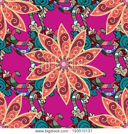 Vector abstract flower background. Pretty floral print with pink small flowers. Motley seamless pattern.