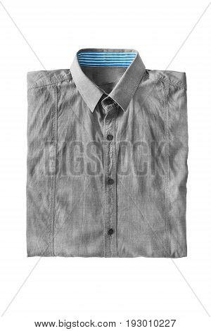 Gray basic cotton shirt folded on white background