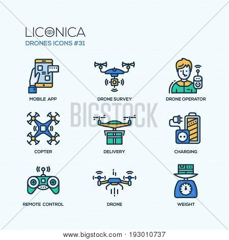 Drones - modern vector flat line design icons set. Mobile app, drone survey, operator, copter, delivery, charging, remote control, weight. Visual technology for more comfortable living. poster